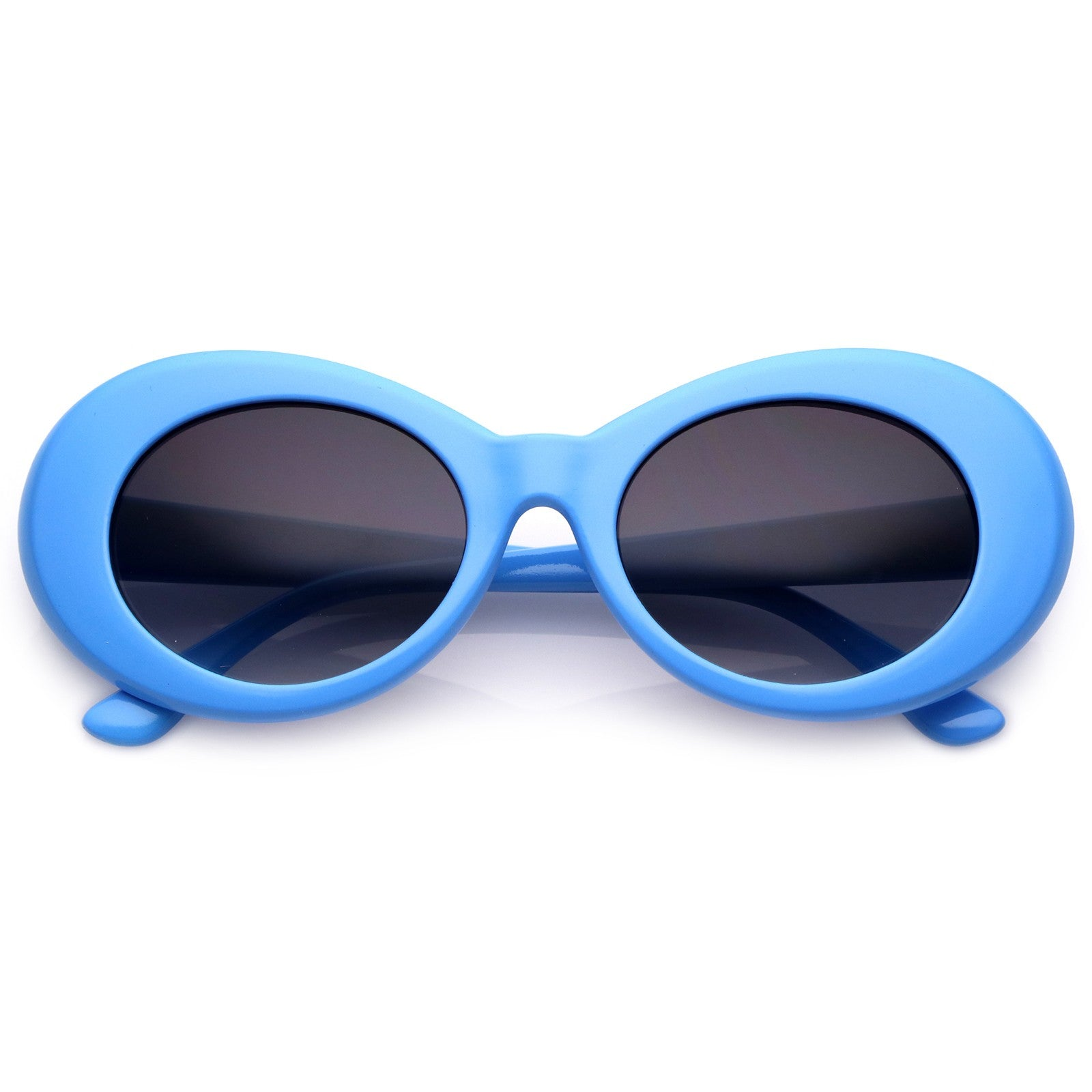 Retro Colorful Oval Sunglasses Tapered Arms Neutral Colored Gradient Lens 50mm (Blue / Lavender)