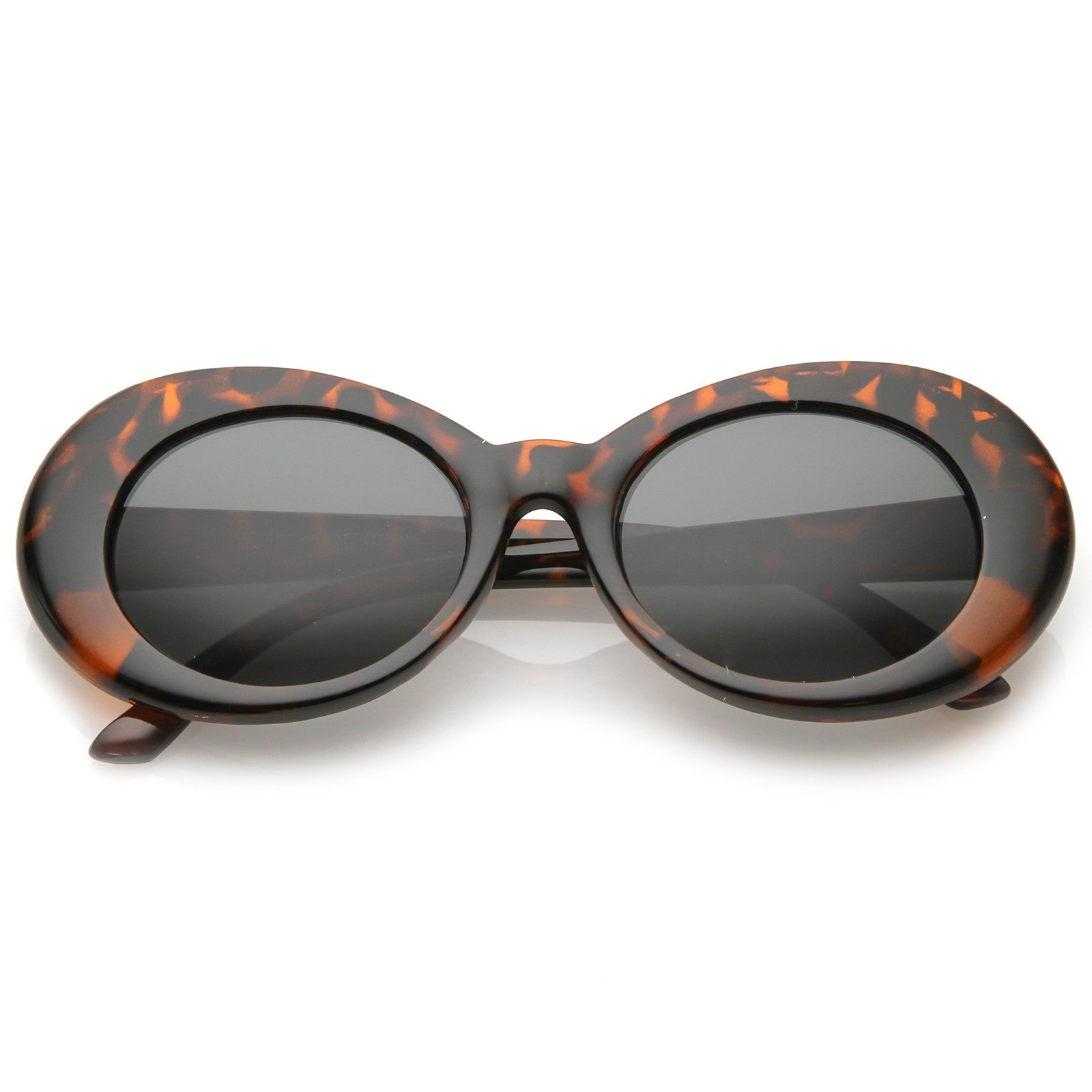 Retro Oval Sunglasses With Tapered Arms Neutral Colored Round Lens  51mm (Tortoise / Smoke)
