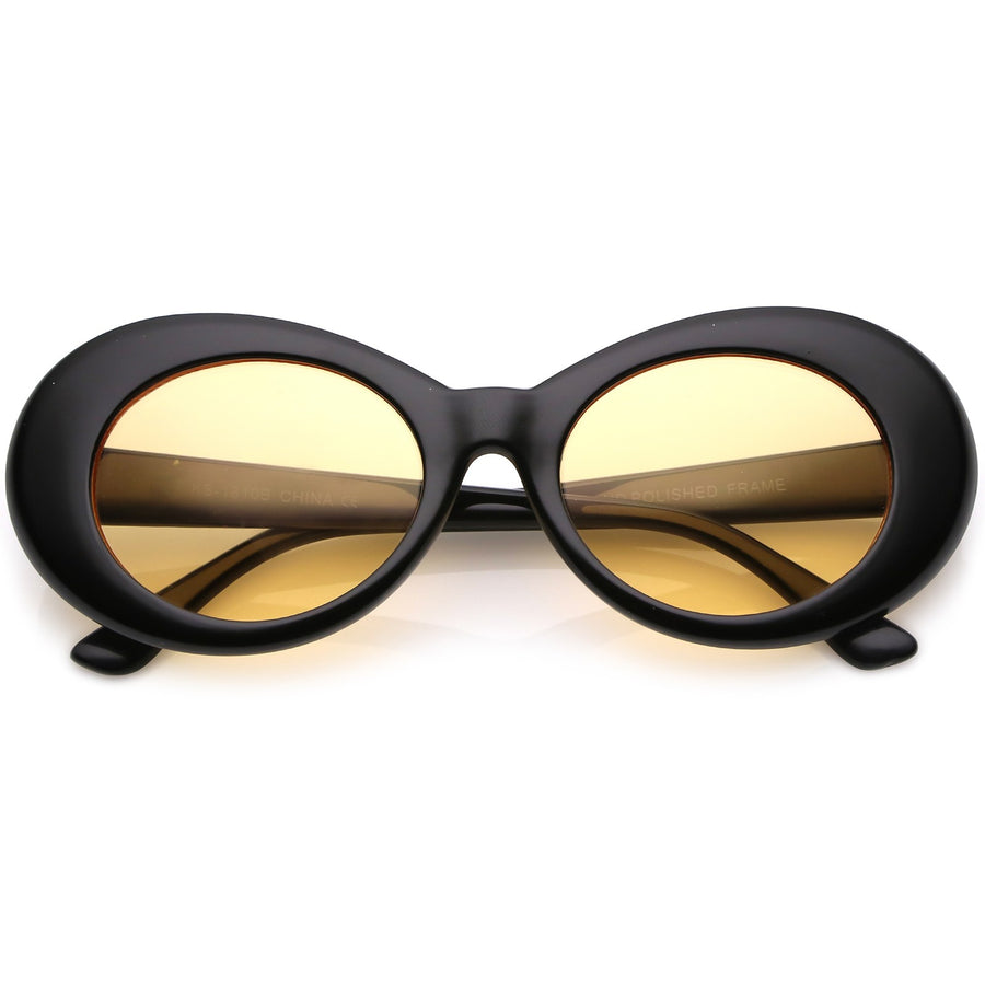 Retro Oval Sunglasses With Tapered Arms Color Tinted Round Lens 51mm (Black / Orange)