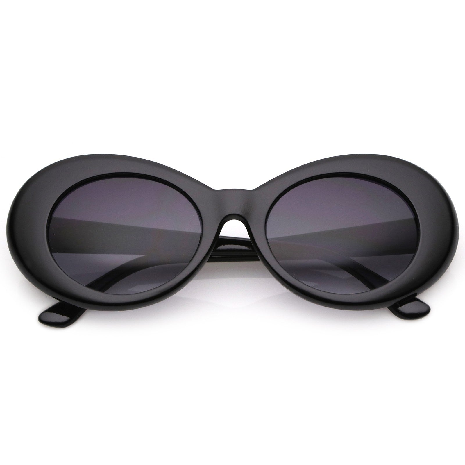 Retro Oval Sunglasses With Tapered Arms Neutral Colored Gradient Lens 50mm (Black / Lavender)