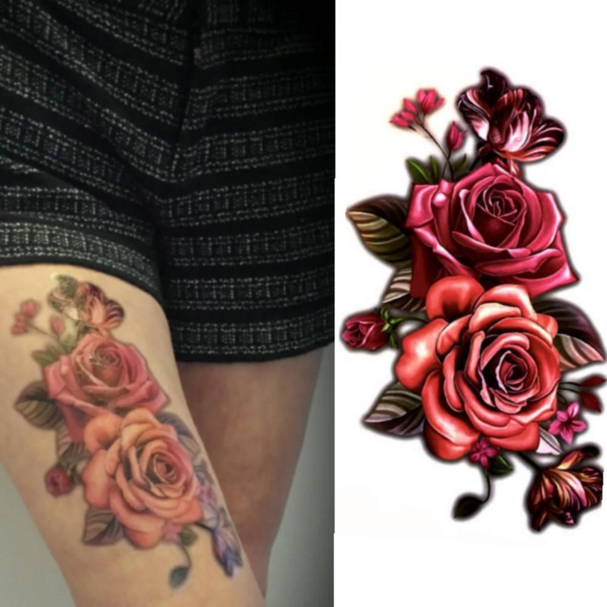 Large Rose Temporary Tattoo