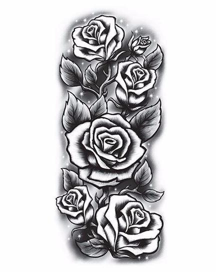 Large Black Rose Sleeve Temporary Tattoo