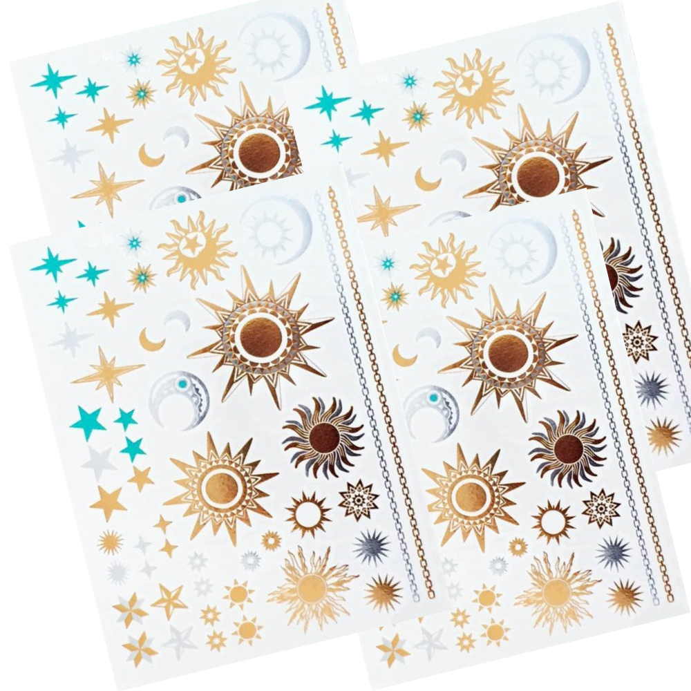 Set of 4 Metallic Temporary Tattoos in Gold Silver and Turquoise