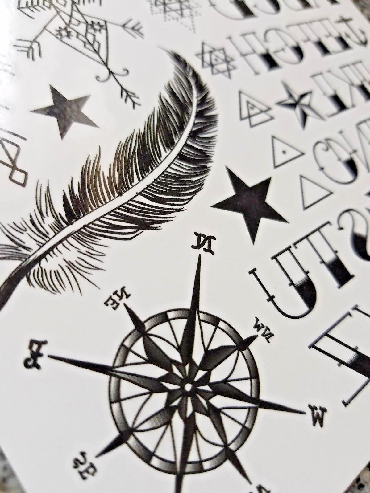 Feather & Hand Lettering Temporary Tattoo Black Compass Tattoo