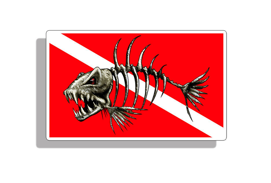 Skull Bone Fish Diver Down Sticker Scuba Diving Dive Car Vehicle Window Decal