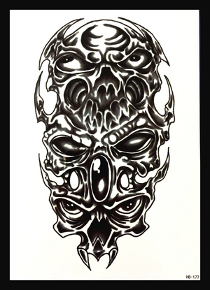 Skull Alien Black Demon Waterproof Temporary Tattoo Large Arm Sticker