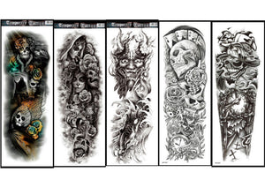 Set of 5 Large Temporary Tattoo Full Arm