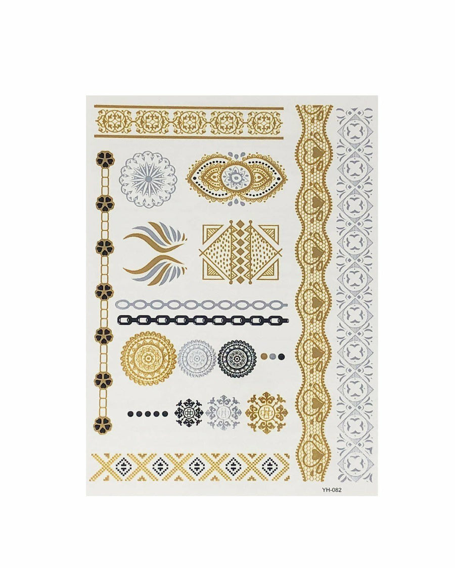 Henna-inspired Metallic Temporary Tattoos Mandala Tattoo Gold Silver Black