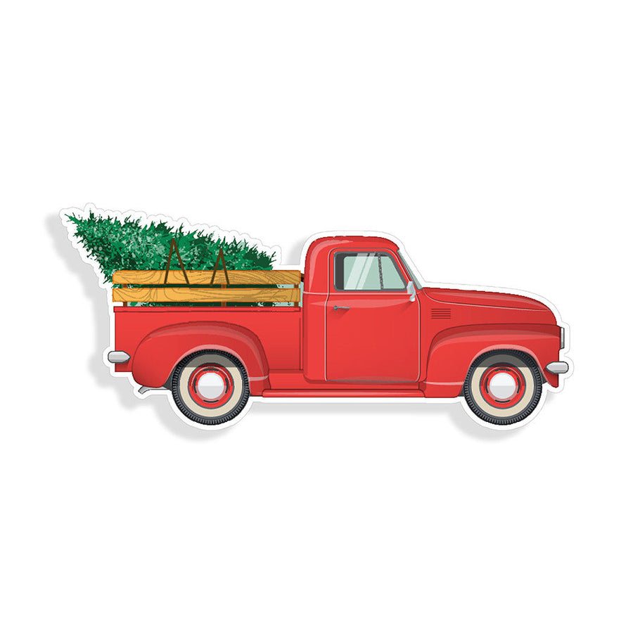 Red Santa Truck Christmas Tree Sticker Cup Car Vehicle Window Bumper Vinyl Decal