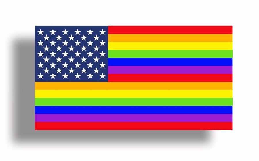 Rainbow American USA Flag Sticker Car Window Bumper Cup Decal Gay Pride LGBT Bi