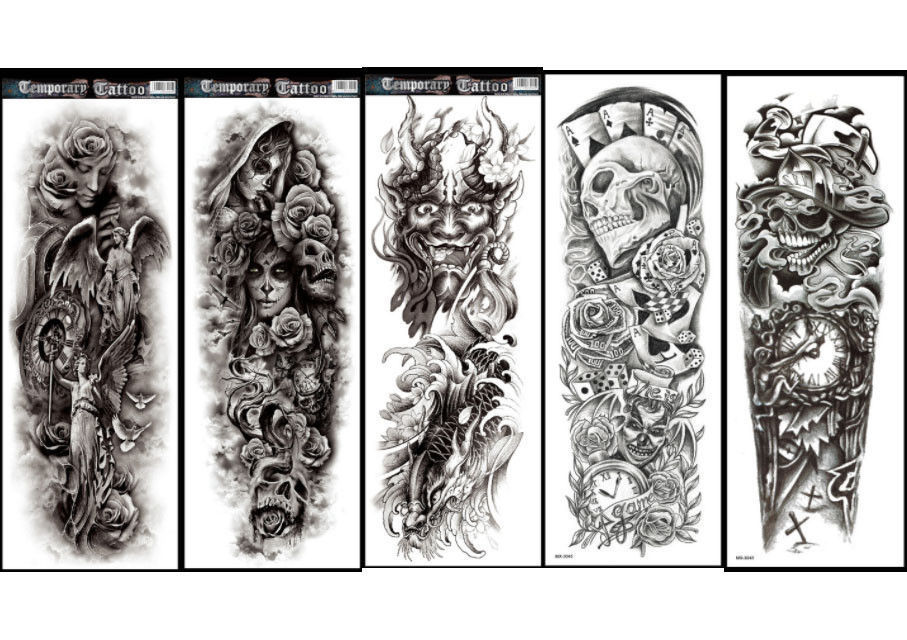 Set of 10 Large Full Arm Temporary Tattoo