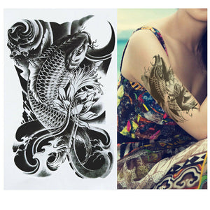 Large Temporary Tattoo - Fish tattoo - Koi Fish tattoo