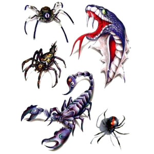 3D Scorpion/Cobra/Spiders Temporary Tattoo Stickers For kids Men and Women