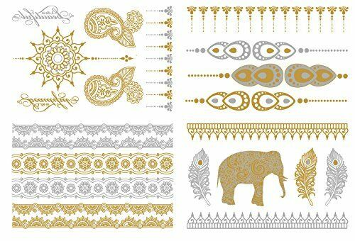Metallic Temporary Tattoo ( Set 4) Gold and Silver Tattoo
