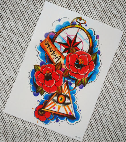 Evil Eye Large Temporary Arm Tattoo Sticker Long Sleeve Fake Waterproof Tattoo
