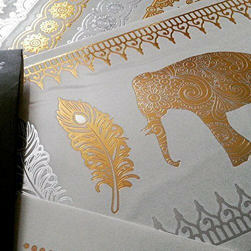 Gold/Silver Metallic Elephant Temporary Tattoo Henna Mehendi Inspired Feathers