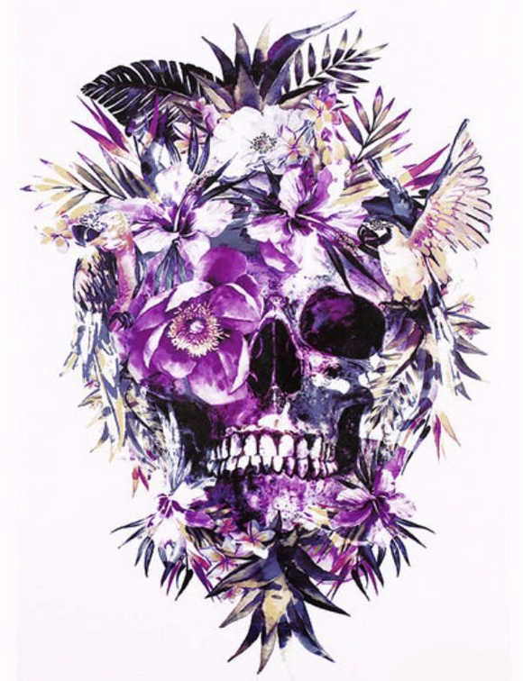 Color Skull Floral Temporary Tattoo