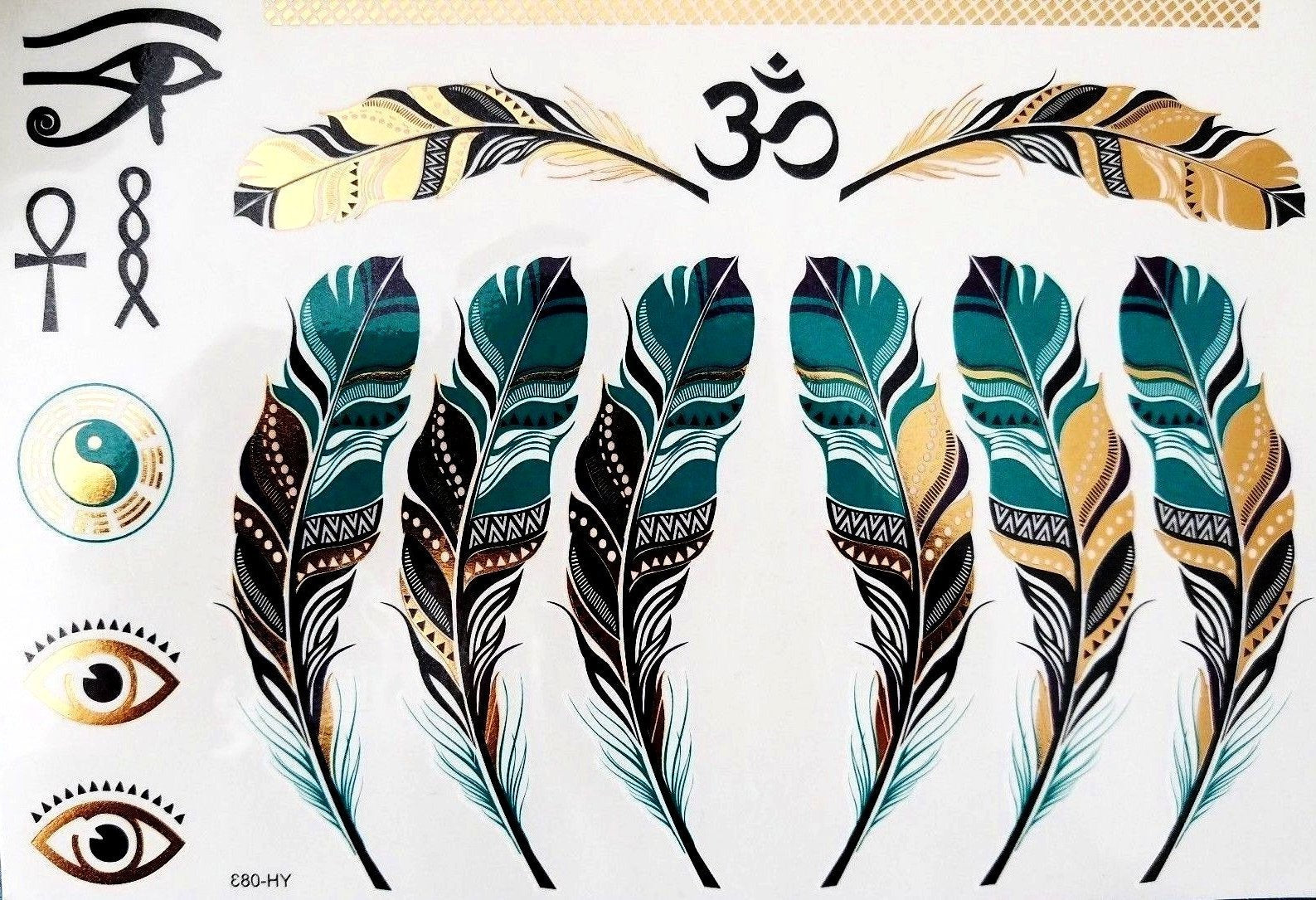 Feather Metallic Gold Silver Black Turquoise Temporary Tattoo