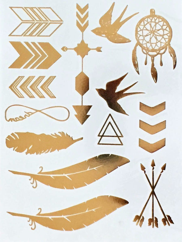 Gold Metallic Bohemian Temporary Tattoos