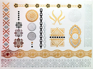 Henna Metallic Black/Gold/Silver Temporary Tattoos