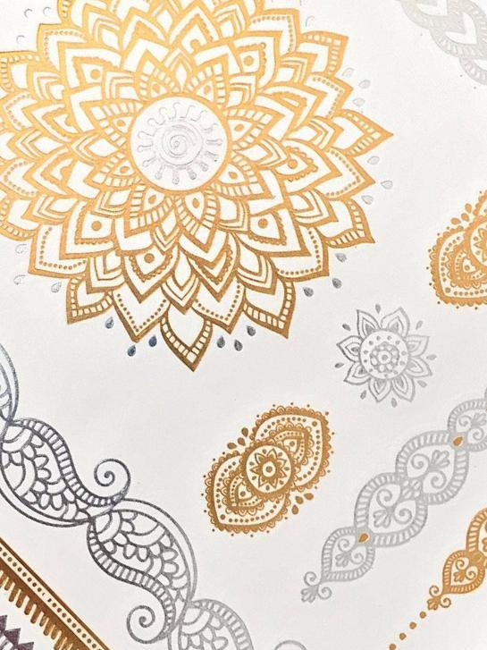 Metallic Gold Henna  Temporary Tattoo