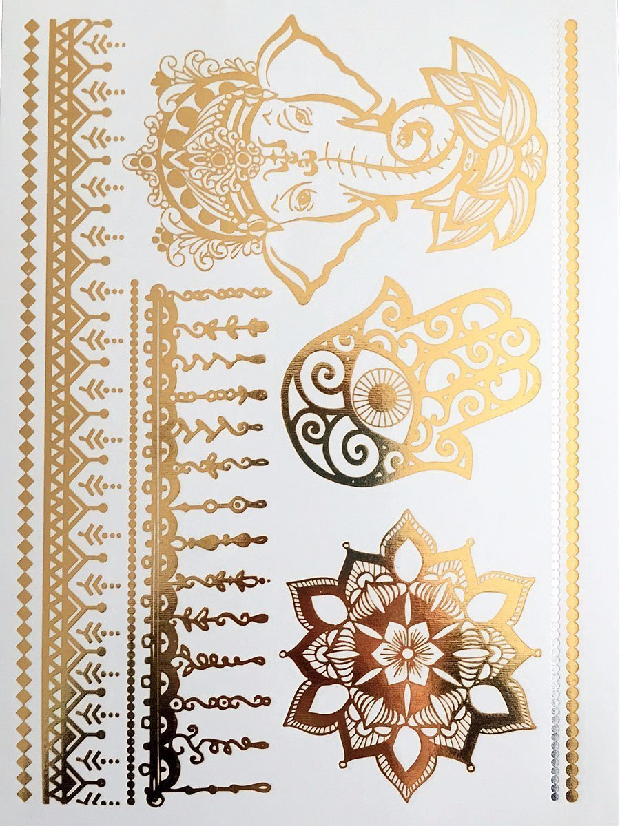 Henna Metallic Gold Temporary Tattoos