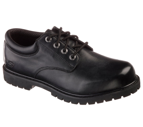 Skechers Men's Soft Toe Slip Resistant Oxford - 77041BLK