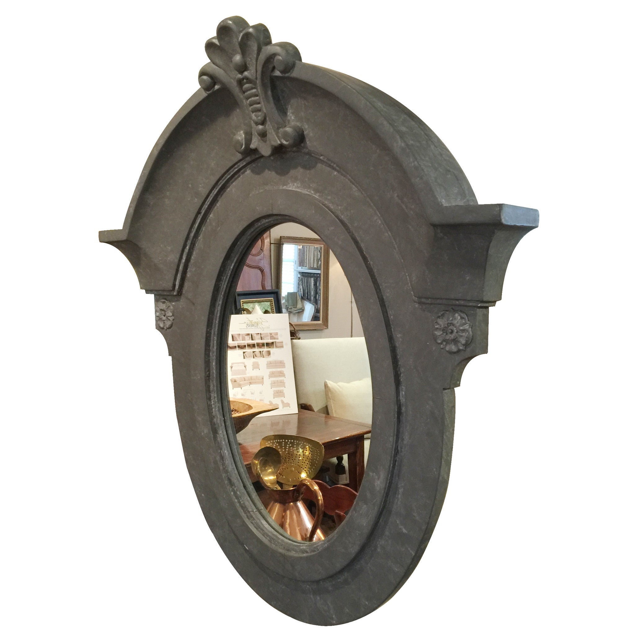 French Replica Grey Painted Mirror