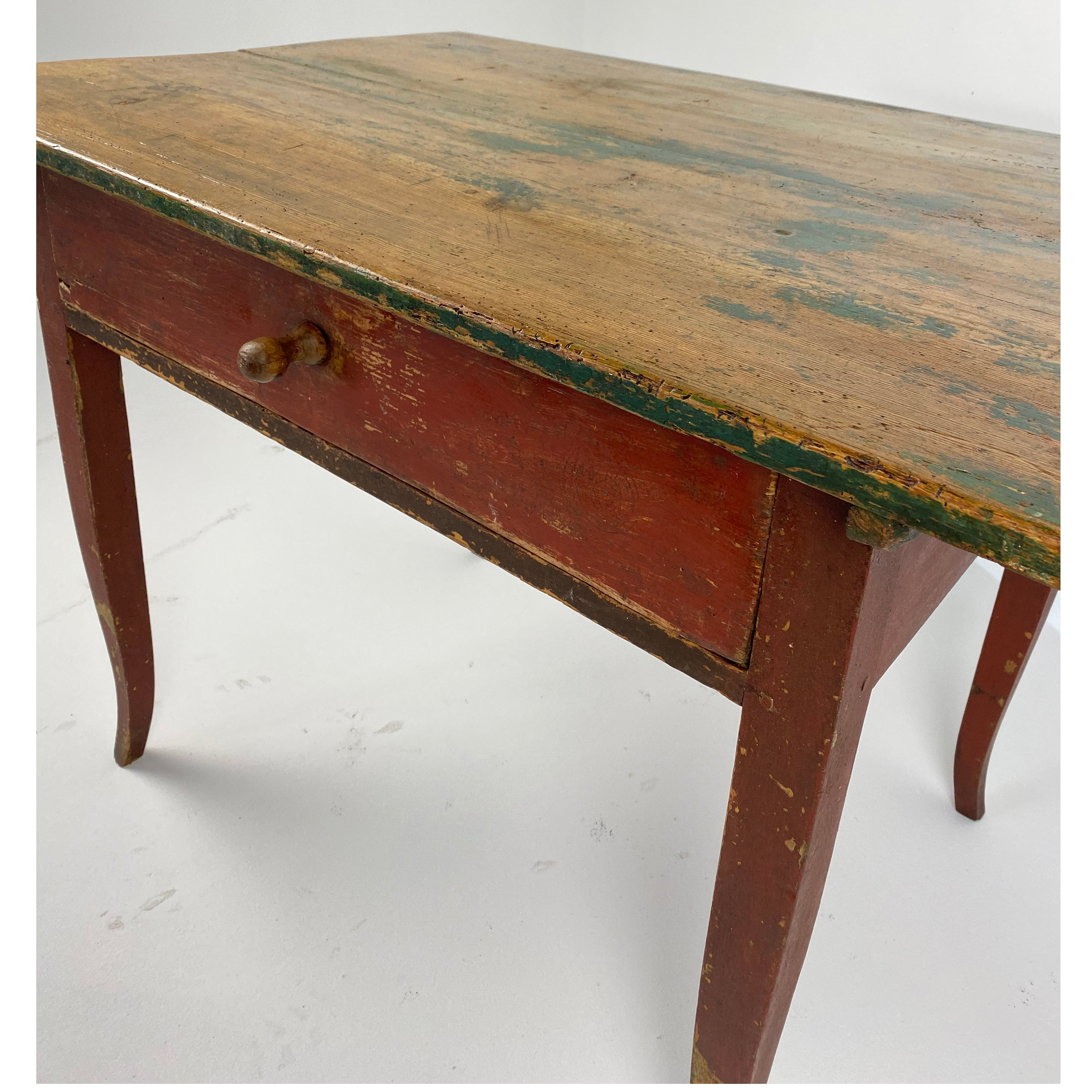 Antique Painted Green & Red Table c1890