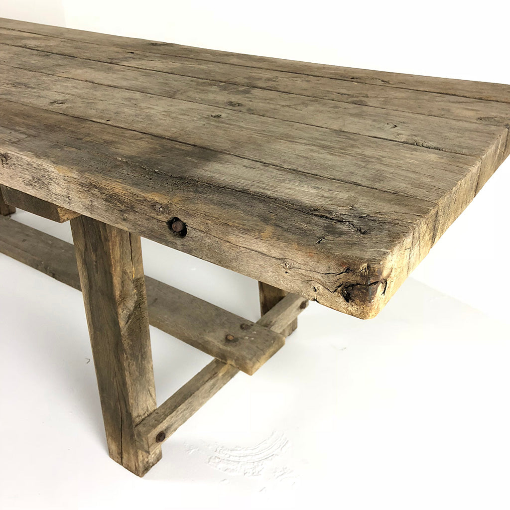 French Antique Rustic Work Table c1910