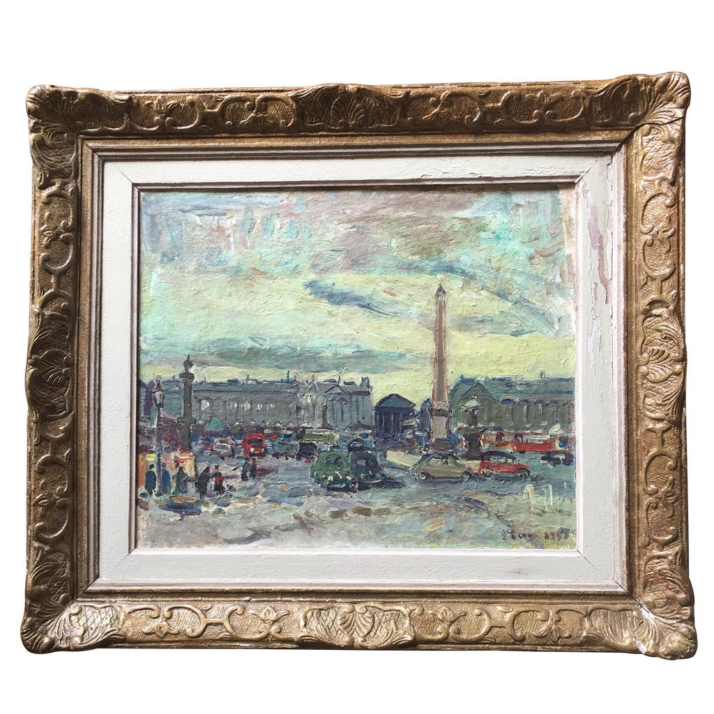 Trafalgar Square, London Vintage Oil Painting