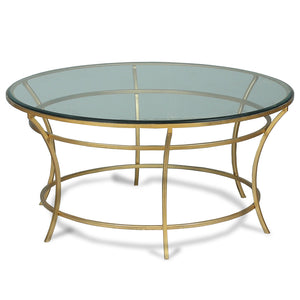 Round Glass & Gilded Iron Coffee Table