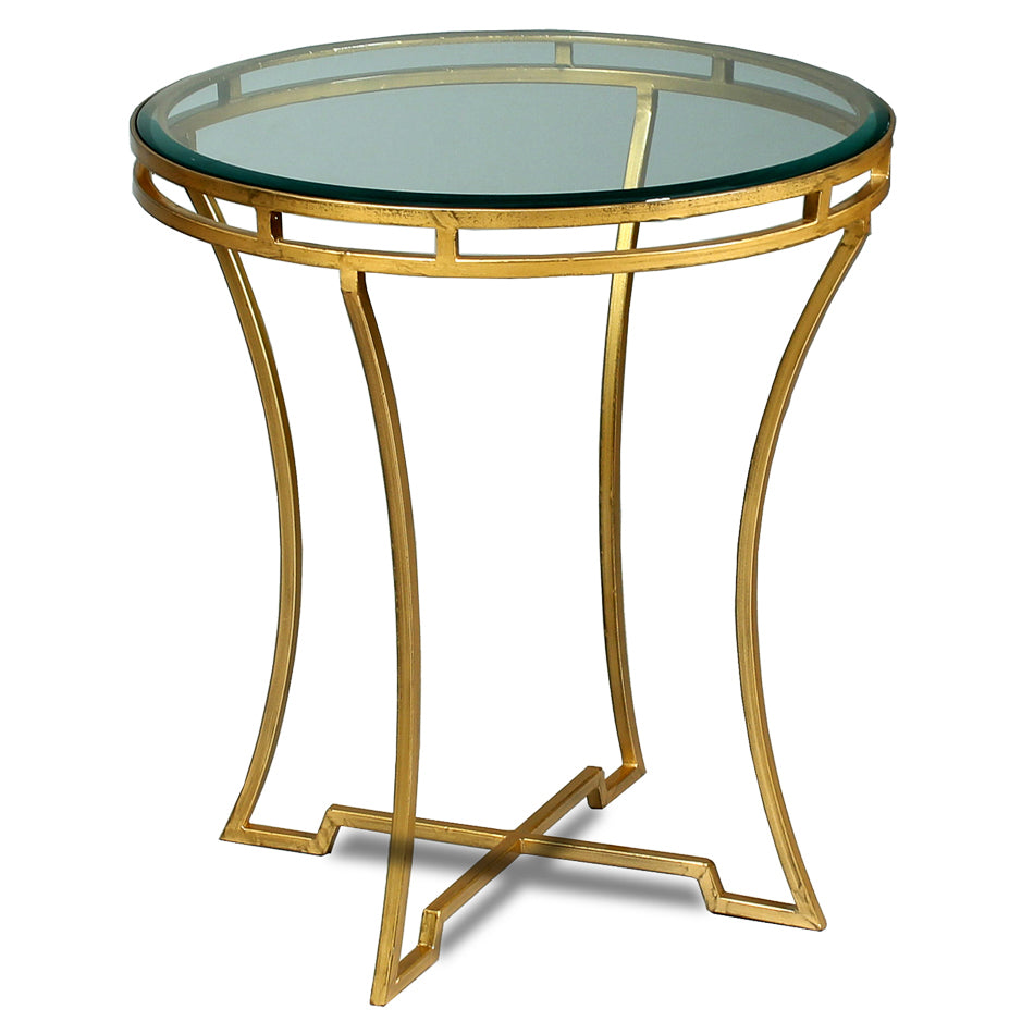 Round Glass & Gilded Iron Side Table