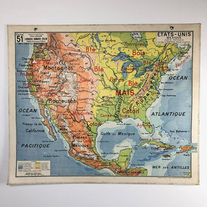 "Vintage School Map ""Etats-Unis Mexique"""