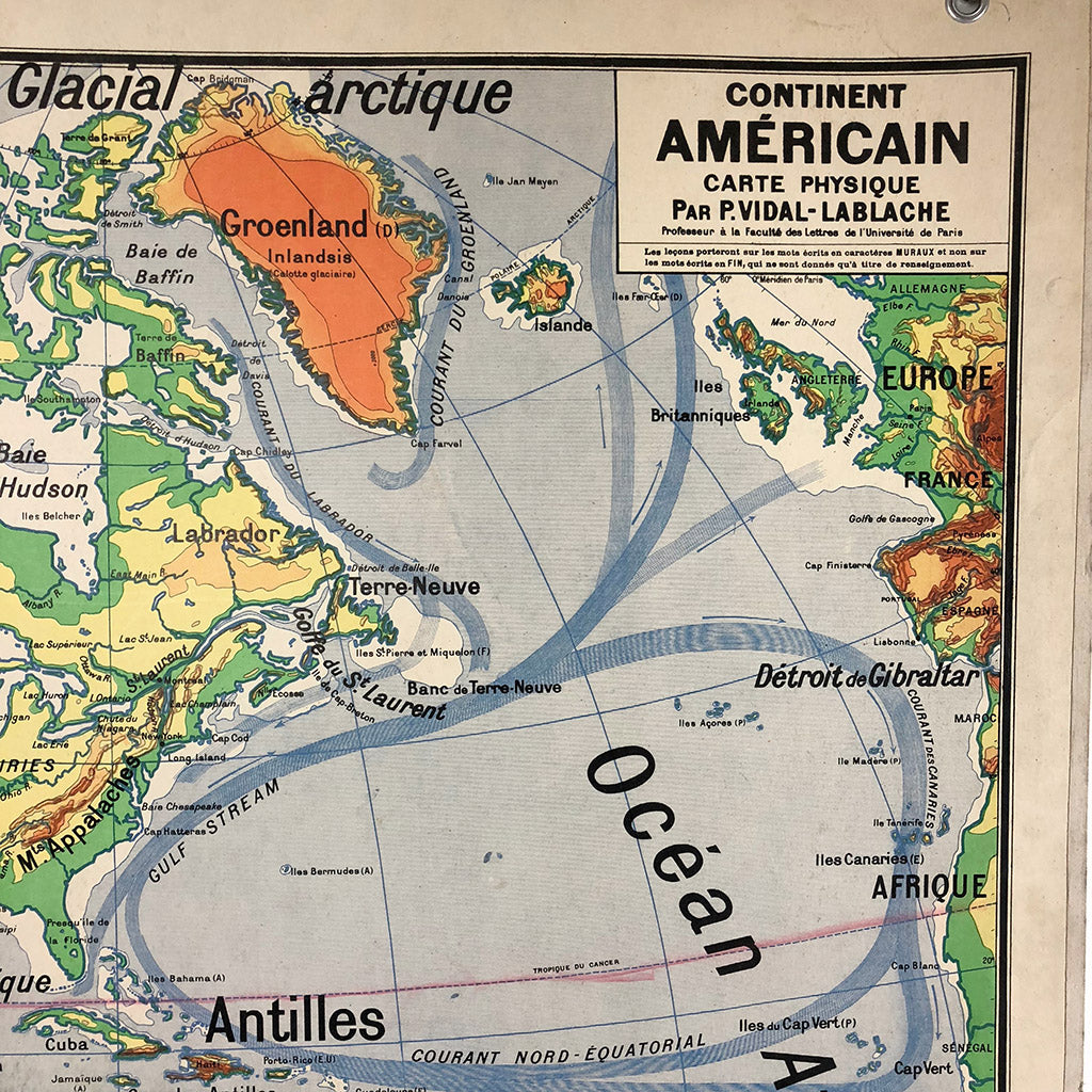 "Vintage School Map ""Continent Americain"""
