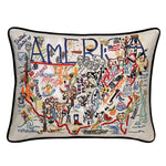 America Hand-Embroidered Pillow
