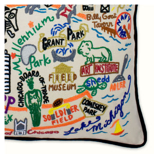 Chicago Hand-Embroidered Pillow