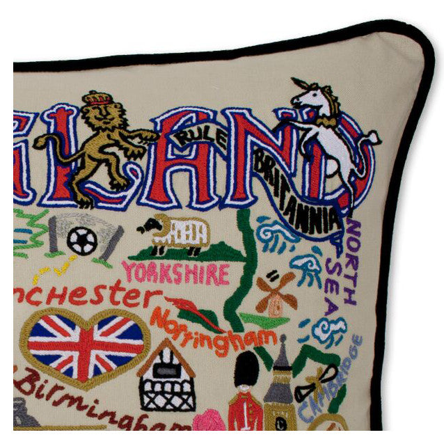 England Hand-Embroidered Pillow