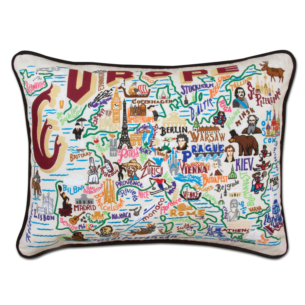 Europe Hand-Embroidered Pillow