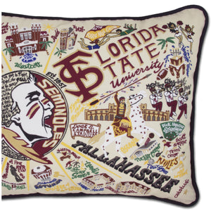 Florida State University Collegiate Embroidered Pillow