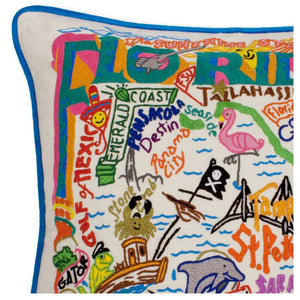 Florida Hand-Embroidered Pillow
