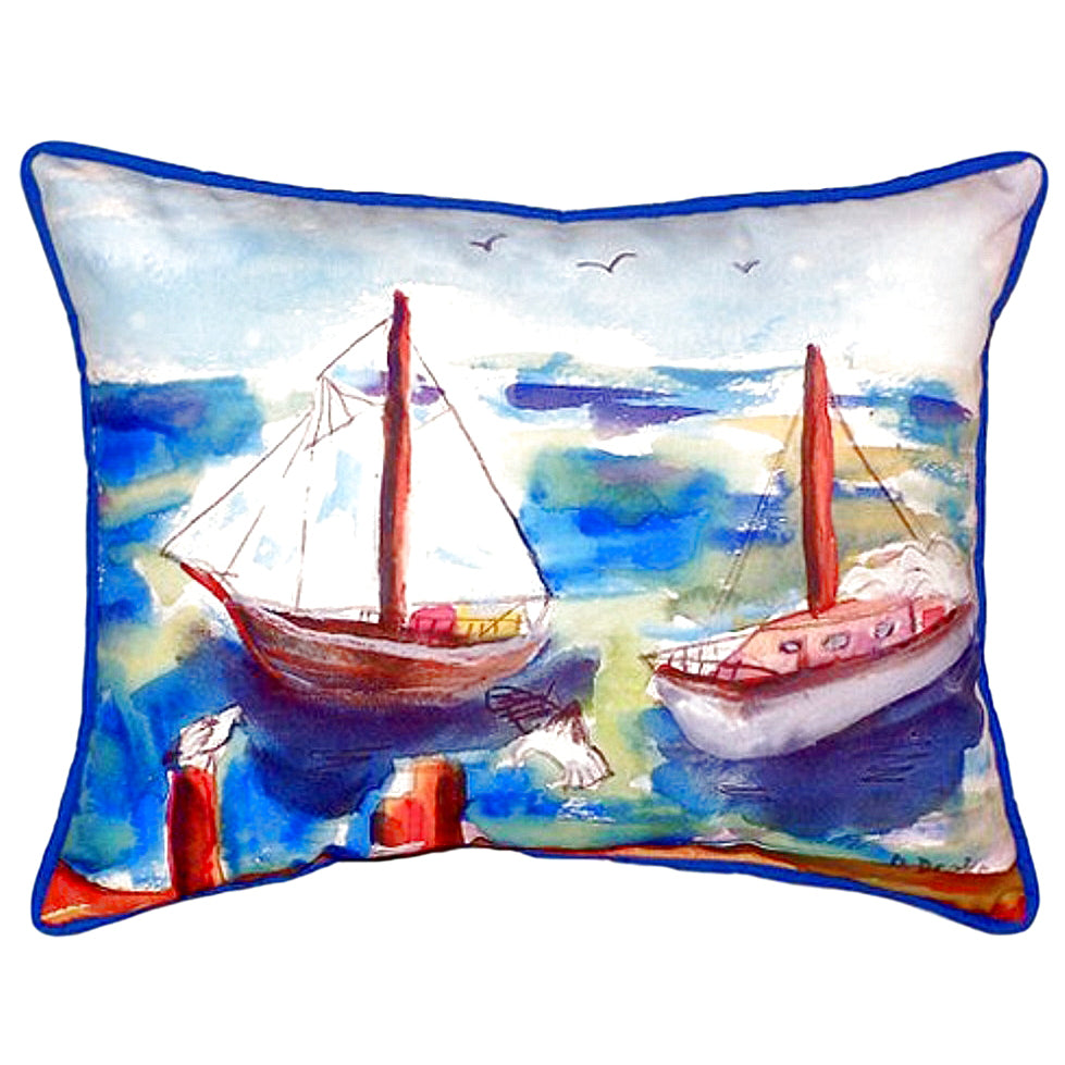 Two Sailboats Indoor/Outdoor Pillow