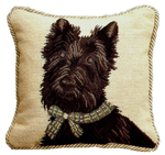 Scottish Terrier Needlepoint Pillow with Cording