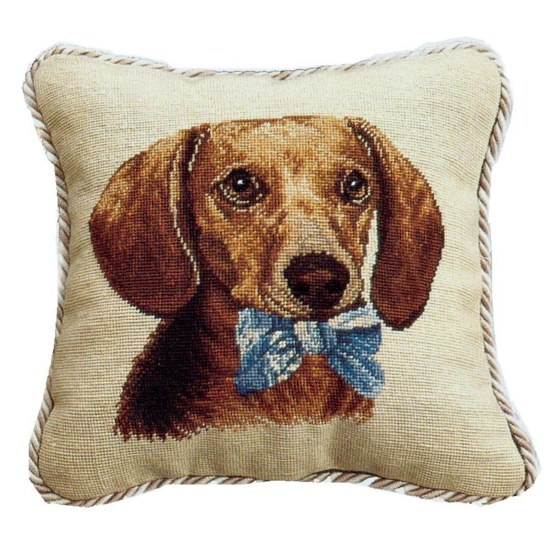 Dachshund Needlepoint Pillow with Cording