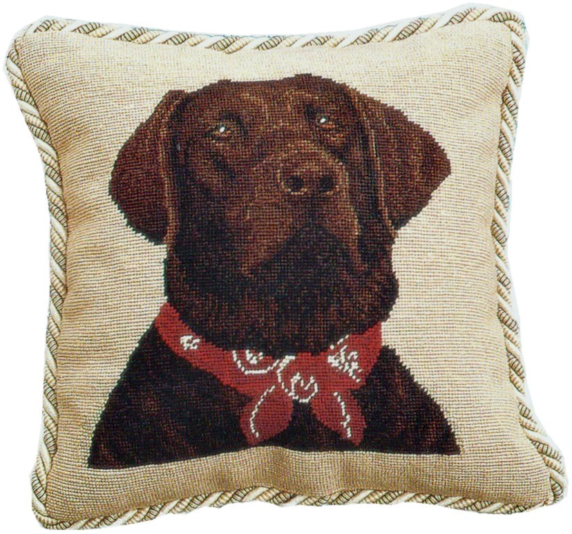 Chocolate Lab Needlepoint Pillow with Cording