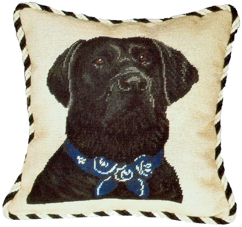 Black Lab Needlepoint Pillow with Cording