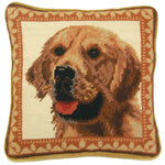 Golden Retriever Needlepoint Pillow