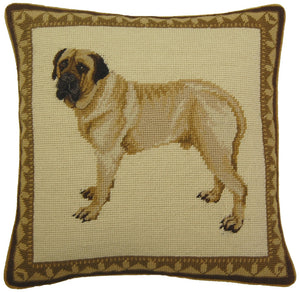 Mastiff Needlepoint Pillow