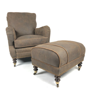 Cyrus Leather Tilt Back Chair & Ottoman