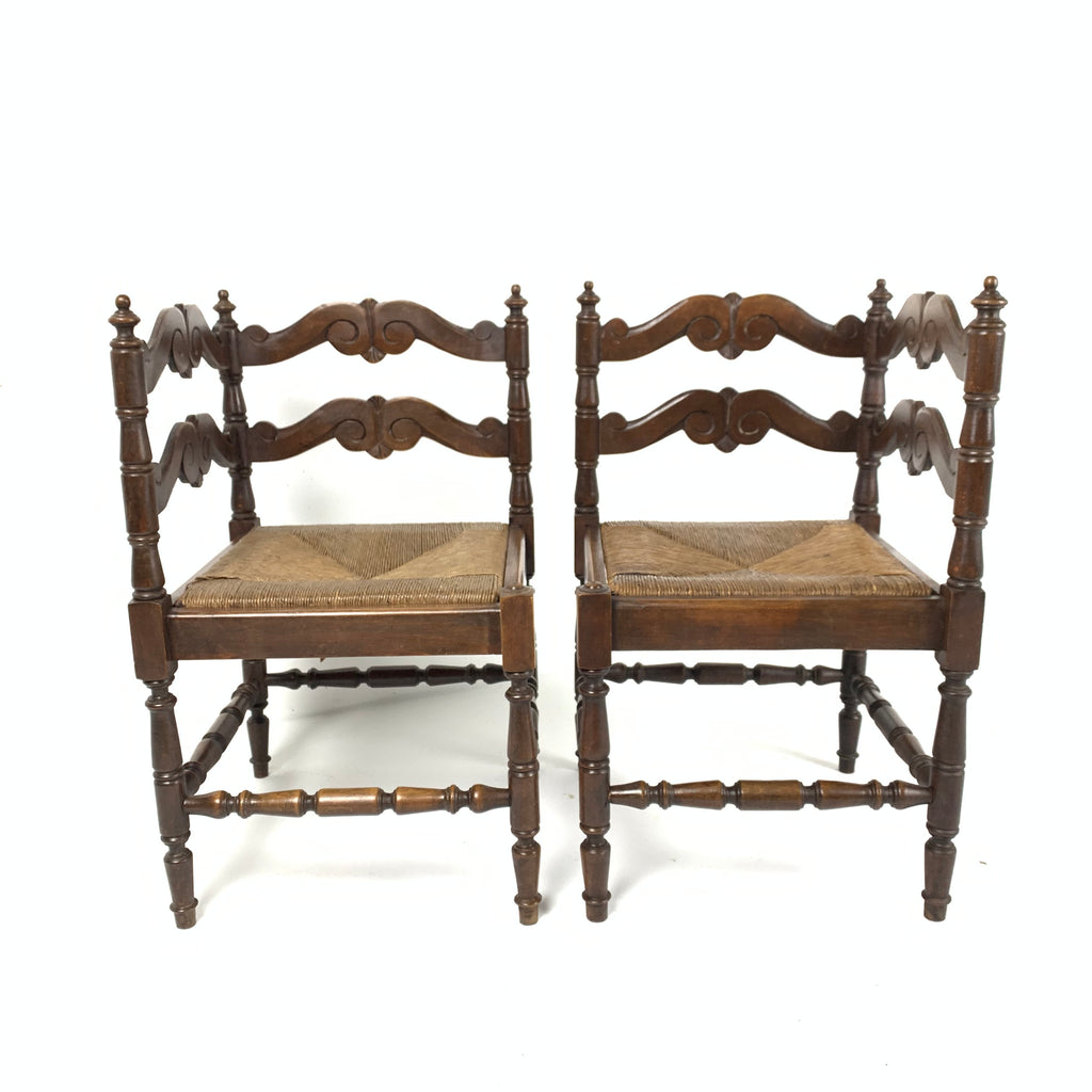 Pair of Antique French Corner Chairs c1890